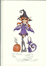Amy Brown LE Print Signed Halloween Pumpkin Pixie Witch II Fairy Decoration RARE