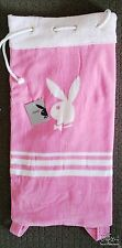 PLAYBOY PINK WHITE BEACH SACK TOWEL 800MM X 1700MM POOL BEACH FUN