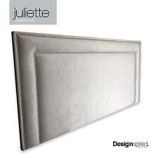 JULIETTE CHROME Stud Upholstered Bedhead for King Size Ensemble - DOVE