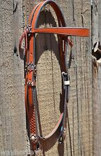 "3/4"" Flared Browband Headstall Basket Tooled Cowboy Cheeks Medium Oil - Copper"