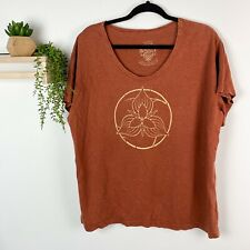 Naked Clothing T-shirt Burnt Orange Hemp Cotton Organic Size XL Boho Festival