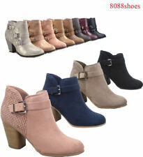 Women's Stylish Almond Toe Zipper Chunky Heel Ankle Booties Shoes Size 5 11 NEW