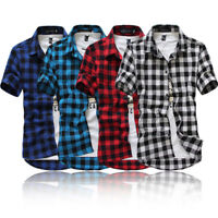 Mens Button Front Check Casual Short Sleeve Blouse Summer Loose T-shirts Tops