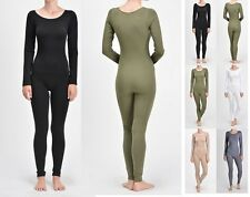 WOMEN NYLON SPANDEX LONG SLEEVE ROUND NECK CATSUIT JUMPSUIT BODYSUIT DANCE