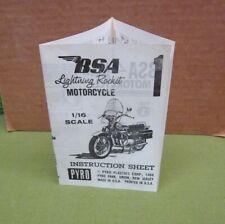 BSA LIGHTNING ROCKET Motorcycle 1/16 scale model instructions Pyro Plastics 1966