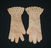 "Old Antique Vtg C 1900s Ladies Gloves Hand Made Crochet Womens 10"" Long Nice"