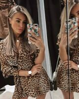 ZARA WOMAN NWT SALE! LEOPARD ANIMAL PRINT DRESS JUMPSUIT SIZE L REF: 8214/416