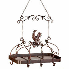 Bronze Color Iron Pot Hanger Pan Holder Kitchen Rack Country Rooster Scrollwork