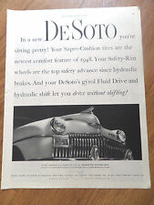 1948 De Soto Ad  Super Custion Tires Safety Rim Wheel Gyrol Fluid Drive Features