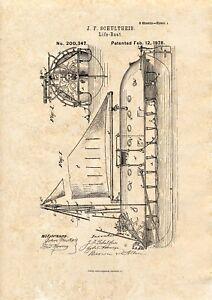 Lifeboat Design Patent art print 1878  A4 / A5 historic maritime wall art