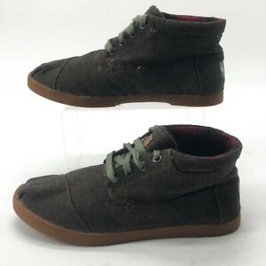 Toms Womens 8.5 Casual Mid Top Sneakers Comfort Shoes Black Canvas Gum Sole