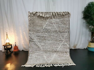"Moroccan Handmade Beni Ourain Wool Carpet 3'6""x4'6"" ft Berber Vintage Beige Rug"