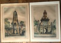 Edward Sharland (1884-1967) - Antique Colour Etchings x 2 - Cambridge + another