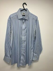 """T.M LEWIN SLIM FIT LS BLUE CHECK SHIRT SIZE 16"""" NON-IRON USED"""