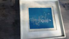 Framed 1967 Abstract Serigraph with Silver Paint, Signed
