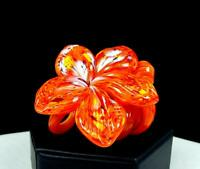 "STUDIO ART GLASS ORANGE STRIPED MOTTLED CURLY STEM 4"" FLOWER SCULPTURE"