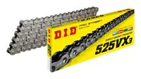 DID PRO-STREET 525 VX3 X-RING MOTORCYCLE CHAIN (RAW) 124 LINKS Rivet Link