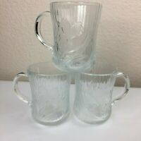 Lot 3 Vintage Arcoroc Canterbury Crocus Coffee Tea Glass Cups Mugs Glass EUC