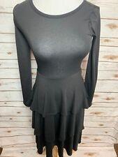 8793b10300e92 BNWT LuLaRoe 2XS Georgia Long Sleeve Tiered Solid Black Dress XXS Stunning
