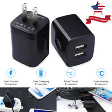 2*USB Wall Chargers 2.1A Dual Port Phone Charging Base Cube Charger Plug Adapter