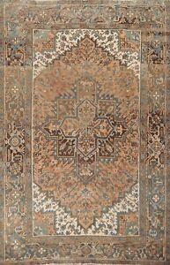 Vintage Geometric Tribal Heriz Hand-knotted Area Rug Wool Oriental 6'x9' Carpet