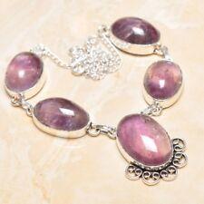 hecho a Mano Elegante Amatista violeta plata de ley 925 Collar 39.4cm n01506