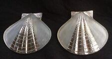 Vintage Art Deco Dress Clips, Pressed Glass/silver Shells, Beach Wedding