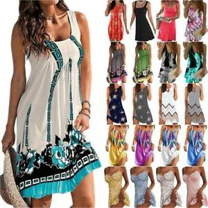 Womens Sleeveless Floral Beach Party Mini Dress Summer Casual Holiday Sundress