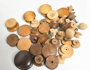 36 COLLECTION LOT OF VINTAGE WOOD CABINET DRAWER KNOBS PULLS