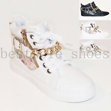 LADIES WOMENS FUR LINNED TRAINERS CHAIN HIGH TOP ANKLE BOOTS LACE UP SHOES SIZE