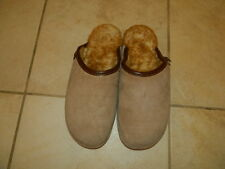 Old Friend Mens 10 1/2 - 11 1/2 Suede Sheepskin Lined Scuff Slippers