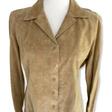 Brandon Thomas Suede Leather Button Shirt Size Large Tan Western Equestrian