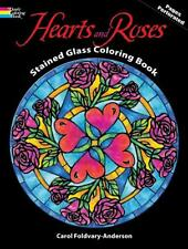 ADULT COLORING BOOK ~ HEARTS & ROSES STAINED GLASS ~ REMOVEABLE PAGES 4 FRAMING