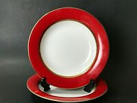 Muirfield Solid Red (9530) China Large Rim Soup Bowls (Set of 2) - Rare Pattern