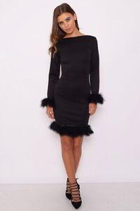 RARE - Black Long Sleeve Feather Trim Mini Dress - Size UK 8