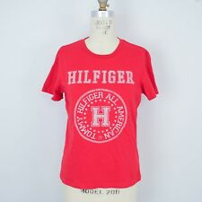 VTG Tommy Hilfiger Jeans Womens T-Shirt Sz M Red Logo Spellout Short Sleeve P17