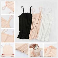 Women's Solid Color Vest Sleeveless Ladies Elastic Strappy Camisole Tank Top Siz