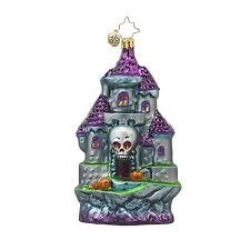 RADKO SPOOKY ENTRANCE Skull Haunted Castle Glass Ornament Halloween