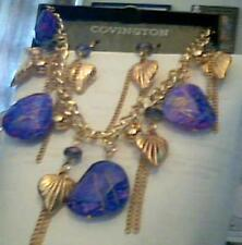 Covington Purple and gold Chain necklace and earrings with hearts
