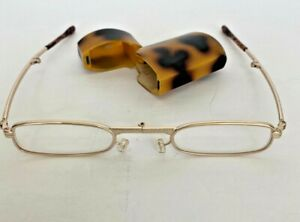 Foldable Collapsible Reading Glasses Gold Frame Tortoise Temple & Tips Hard Case