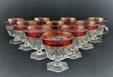 VINTAGE TIFFIN FRANCISCAN GLASS SET OF 10 COFFEE CUPS KINGS CROWN THUMBPRINT