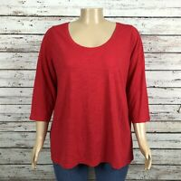 Ava & Viv Basic Scoop Neck T-shirt Top 2X PLUS Bright Red 3/4 Sleeve Cotton Poly