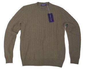$1,295 Ralph Lauren Purple Label Seed Stitched Sage Cashmere Crew Neck Sweater