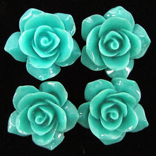 4 26mm synthetic coral carved rose flower pendant bead green