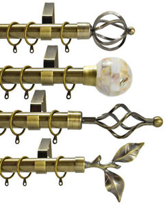 28mm Diameter Extendable Metal Curtain Pole Polished & Brushed Chrome Brass