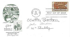 Walter Brattain John Bardeen William Shockley signed FDC Invented Transistor