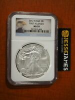 2012 $1 AMERICAN SILVER EAGLE NGC MS70 FIRST RELEASES BALD EAGLE LABEL