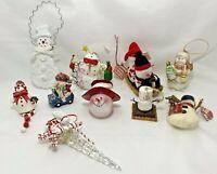 Lot 10 Snowmen Christmas Tree Ornaments Magnet Resin Cloth Ceramic Assortment