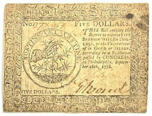 September 26, 1778 $5 Philadelphia Colonial Currency Note