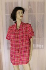 SIZE 16 AUTOGRAPH PINK TARTAN PATTERN BUTTON FRONT BLOUSE 🐧FREE POST ON ANY 5